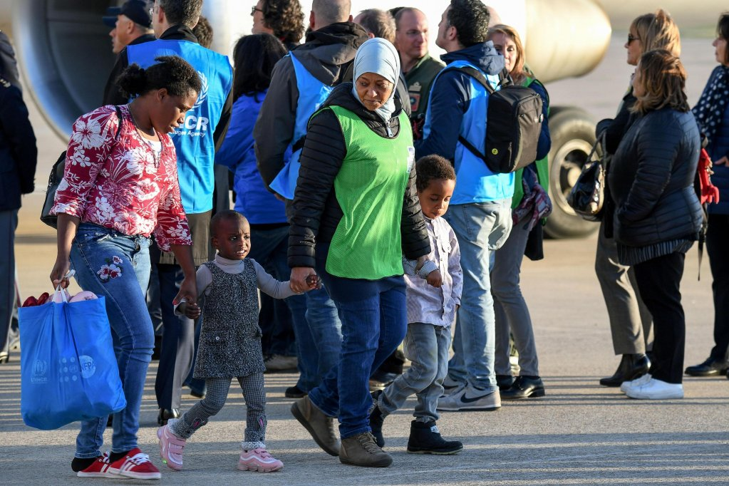 Arrival of 147 asylum seekers from Misurata (Libya) thanks to a humanitarian corridor at the Pratica di Mare military airport, near Rome, Italy, 29 April 2019. | Credit: ANSA/ALESSANDRO DI MEO