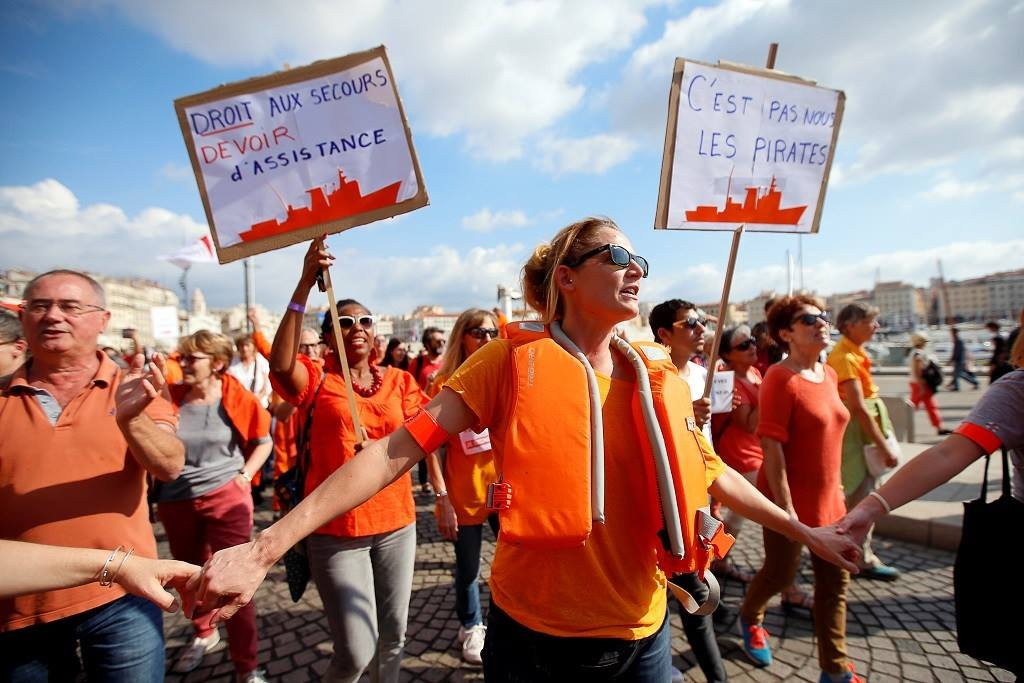 Rallies took place in France and across Europe on October 6, 2018, to show solidarity with the migrant rescue organization SOS Mediterranee | Credit: Reuters