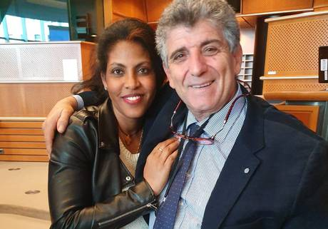 Kebrat and Dr. Pietro Bartolo hug as they meet in the European Parliament | Photo: ANSA