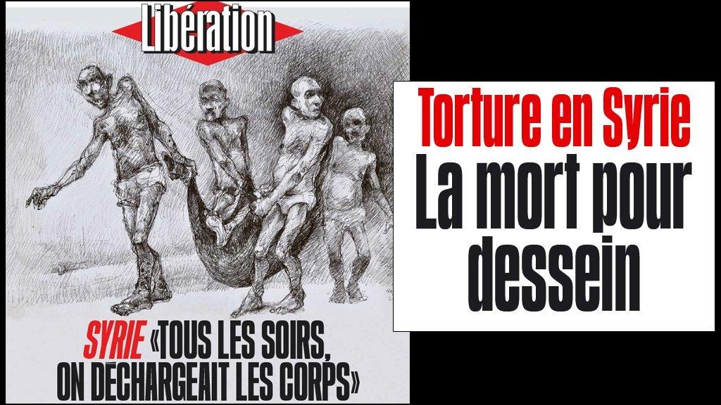 """غلاف مجلة """"ليبراسيون"""" الفرنسية.. رسوم عن السجون السورية (13-08-2018)"""