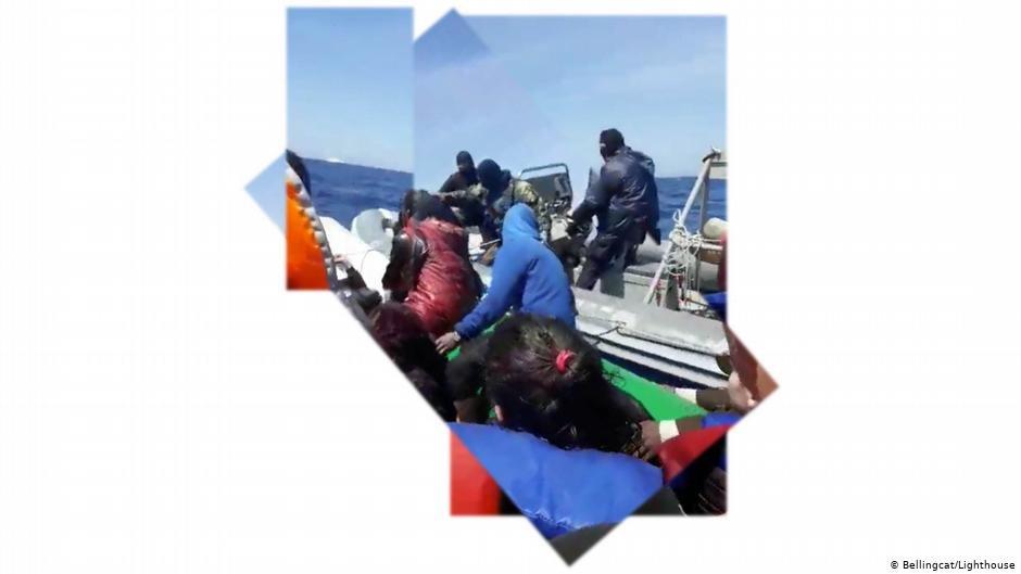 پلت فورم های بلینگ کت و لایت هاوس می گویند: «قایق بادی متعلق به کشتی گارد ساحلی یونان با نام ΛΣ 080  است». /عکس: Bellingcat and Lighthouse