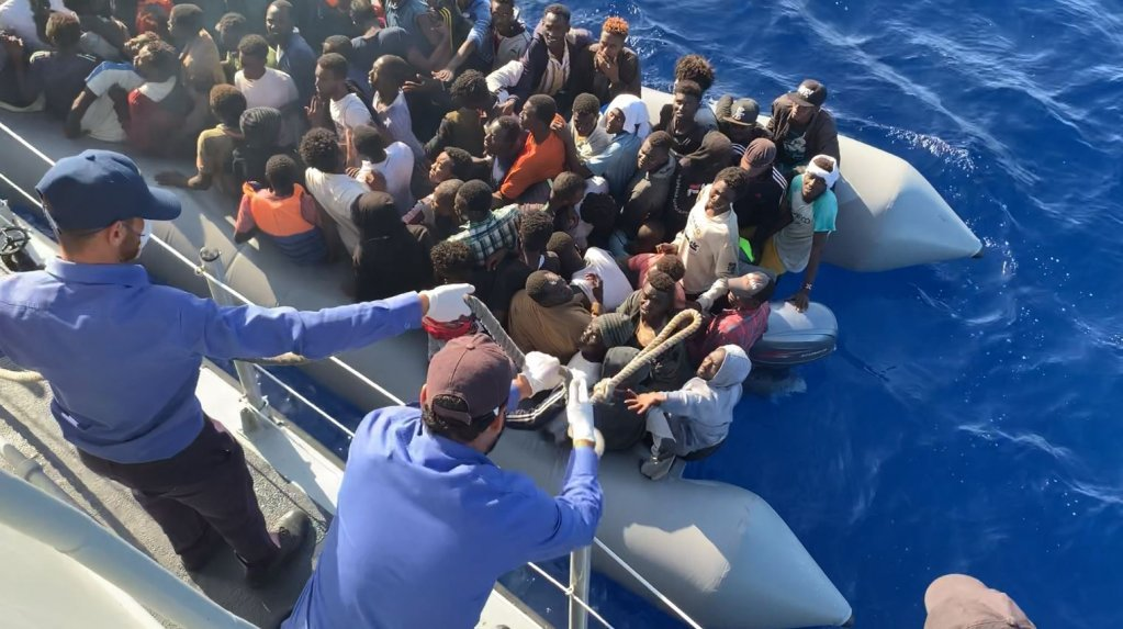 The Libyan coastguard at work in November 2019 whilst a team from the French international broadcaster France 24 was on board their boat making a documentary | Photo: France 24