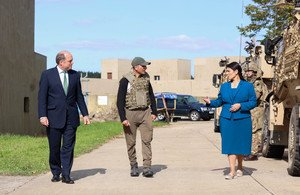 UK Home Secretary Priti Patel and UK Defence Minister Ben Wallace meet an Afghan interpreter on a visit to a military base in Norfolk | Photo: Ministry of Defence UK