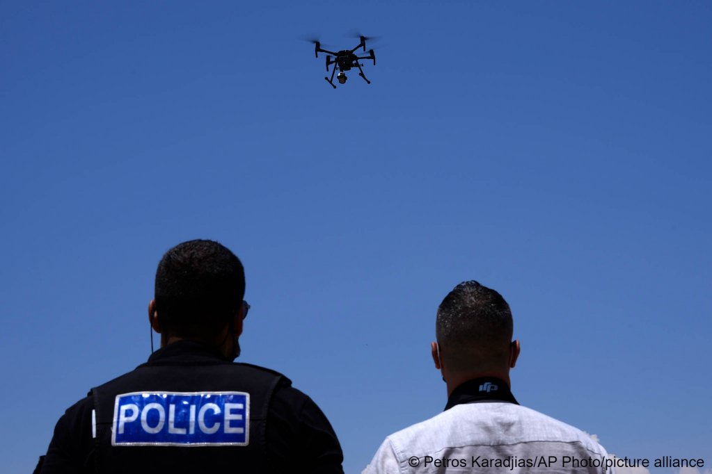 British police officers control a drone with cameras near the British Dhekelia military base on Cyprus on July 6, 2021 | Photo: Petros Karadjias/ AP
