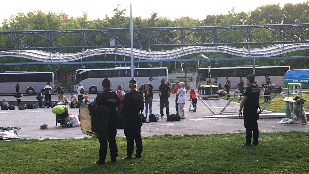 Le camp de familles de migrants installé dans le parc de la Villette, dans le nord de Paris, a été évacué mercredi 28 août 2019. Crédit : Utopia 56