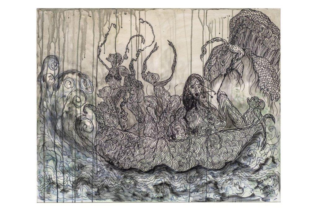 """ANSA / لوحة """"سفينة نوح"""" للفنانة الكردية زهرة دوغان."""