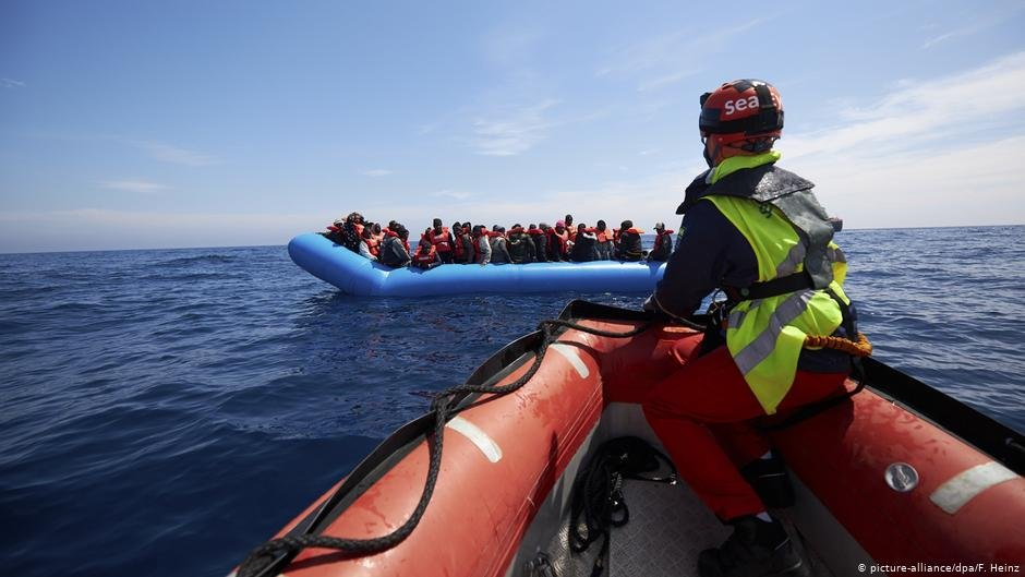 The migrants just before the rescue by crew from the 'Alan Kurdi' on April 3, 2019 Photo: Fabian Heinz/picture alliance/dpa