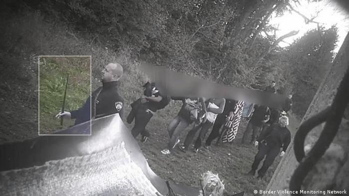 Camera footage from 2018 shows Croation authorities, armed with batons, forcing a group of migrants back into Bosnia | Copyright: Border Violence Monitoring Network