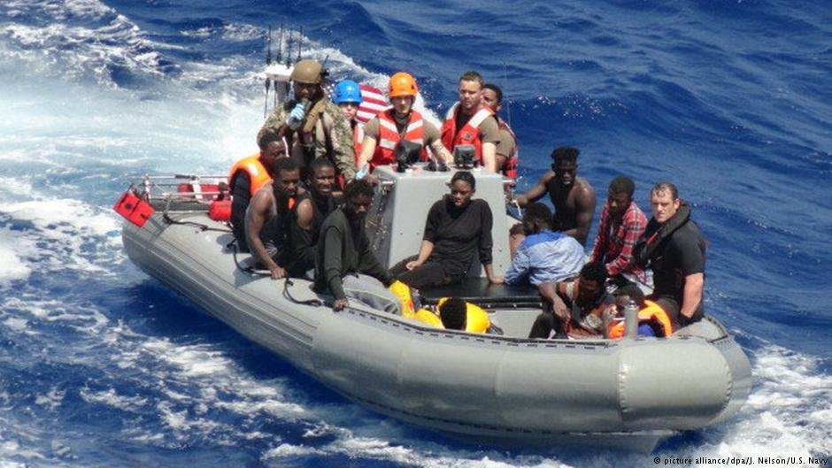 Migrants rescued by the US Navy off the coast of Libya, now in safety in Italy Photo: Jonathan Nelson/US Navy/dpa