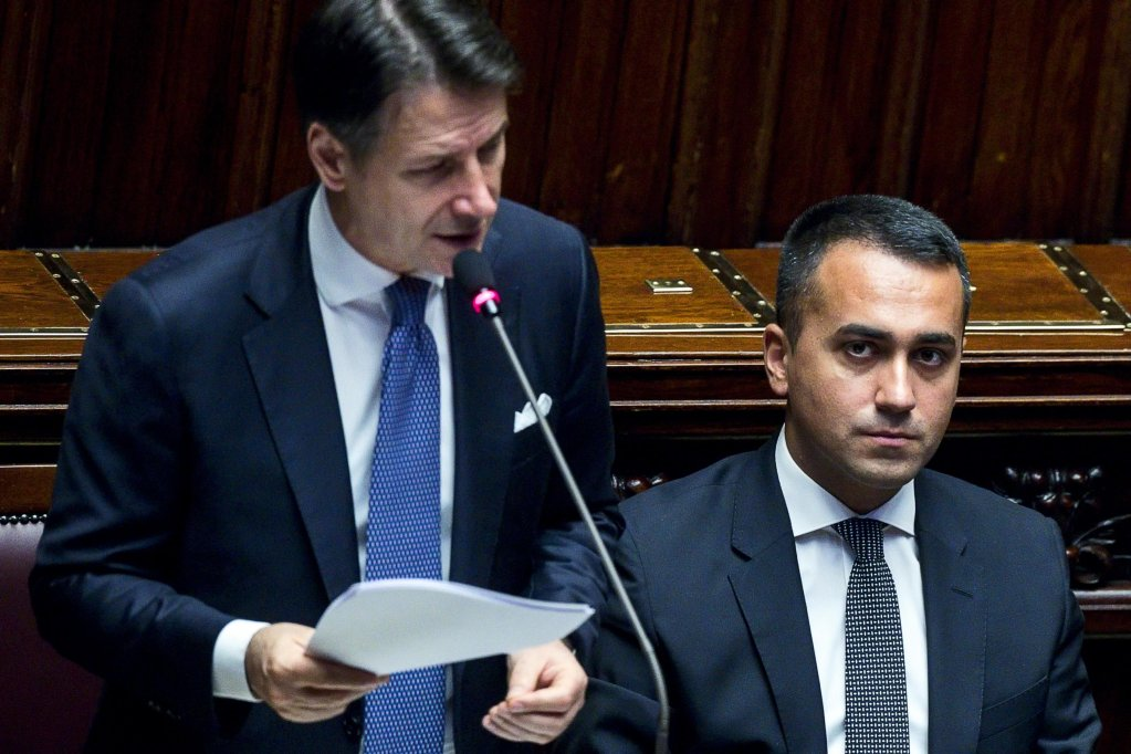 Italian Premier Giuseppe Conte, flanked by Foreign Affairs Minister Luigi Di Maio, during his address to the Lower House ahead of a vote of confidence in Rome, Italy, on September 9, 2019 | Photo: ANSA/Angelo Carconi