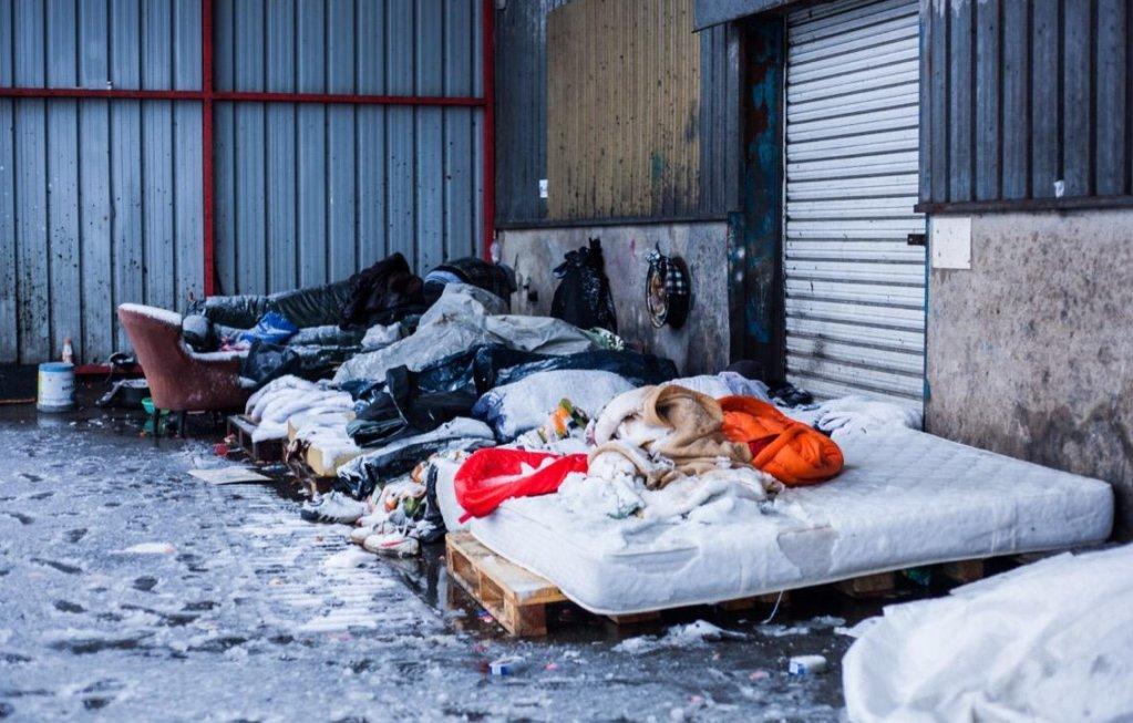 Image d'archive de Calais sous la neige. Crédit : Auberge des migrants