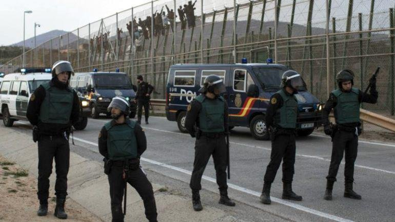 Police were out on the streets in Melilla | Credit: Local police authorities