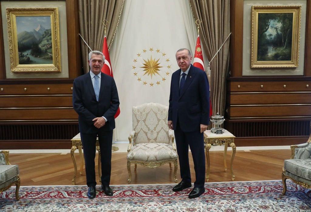 Filippo Grandi (UNHCR) met with Turkish President Recep Tayyip Erdogan on September 8, 2021 | Photo: UNHCR (@FilippoGrandi on Twitter)