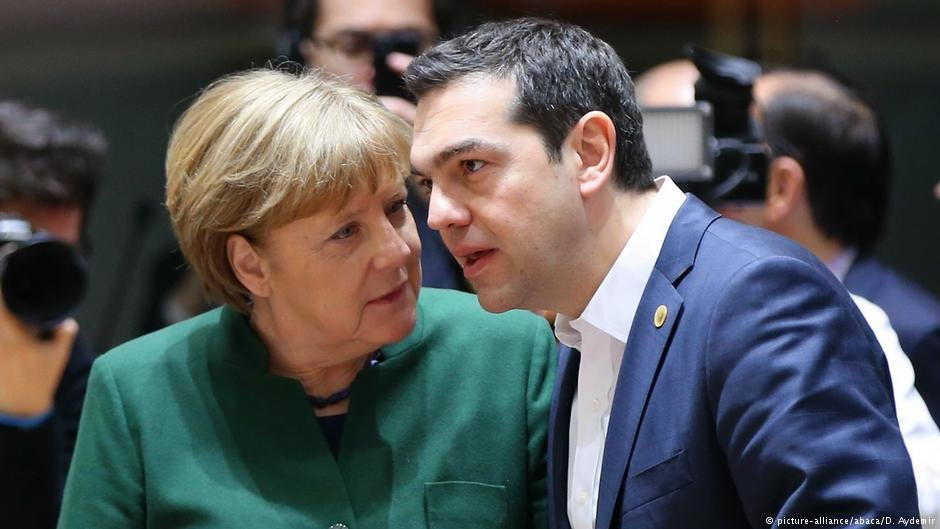 Alexis Tsipras speaks to Angela Merkel