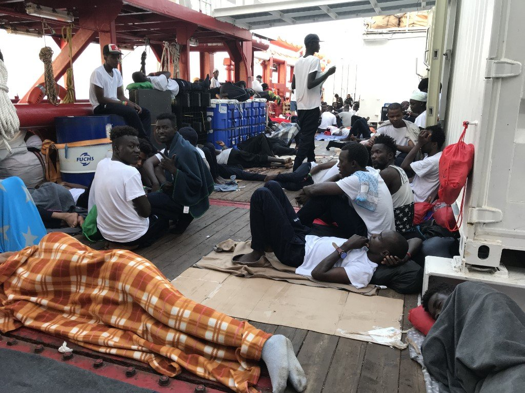 AFP | Rescued migrants on the 'Ocean Viking' rescue ship, August 13, 2019
