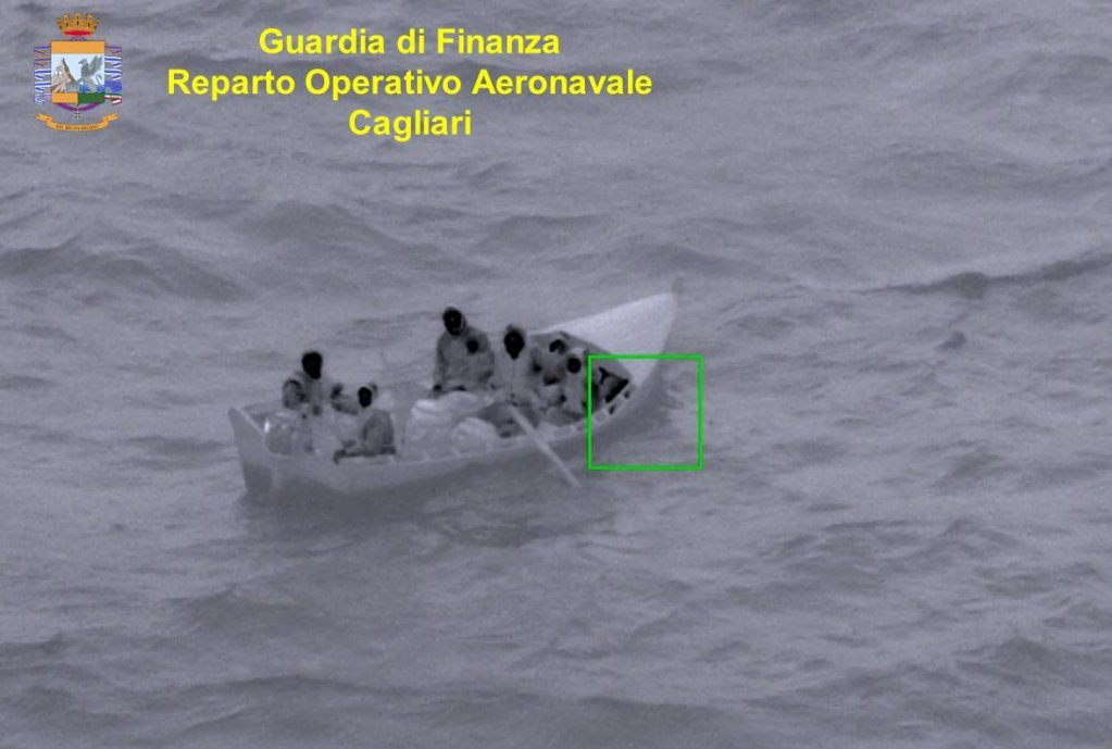 Migrants intercepted by the GDF south of the Sardinian coast in a photo provided by the GDF
