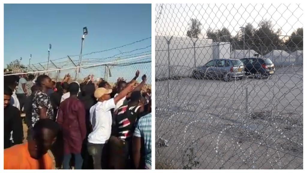A gauche, une foule de résidents du camp Pournara assiste à une manifestation à l'extérieur du camp demandant leur libération. A droite, les barbelés entourant le camp chypriote de Pournara. Crédit : DR