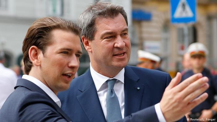 Sebastian Kurz and Markus Söder at a meeting of their cabinets on immigration (Reuters/L.Foeger)
