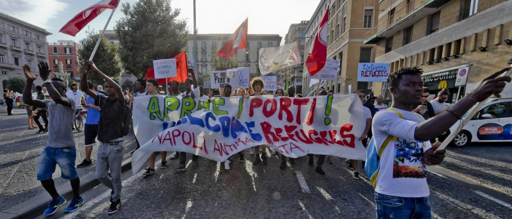 An anti-racism demonstration in Naples. Credit: ANSA/CIRO FUSCO