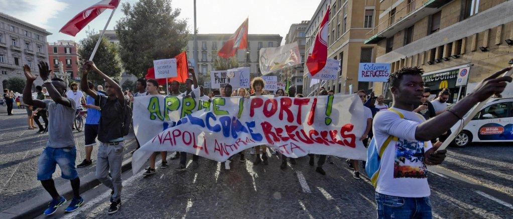 An anti-racism demonstration in Naples. Credit: ANSA/CIRO FUSCO