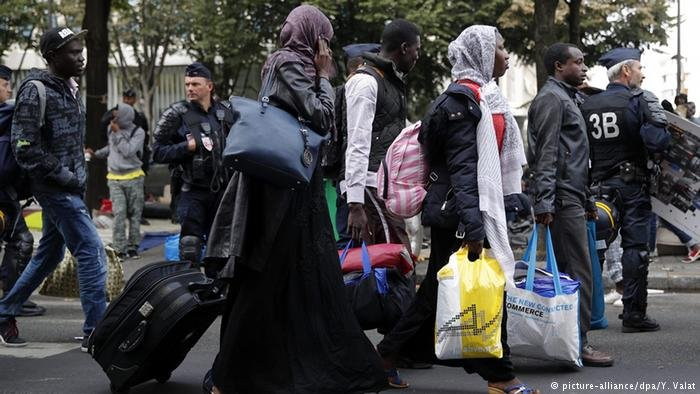"""Migrants from the Calais """"Jungle"""" have been forced to relocate to other French cities, including Paris 