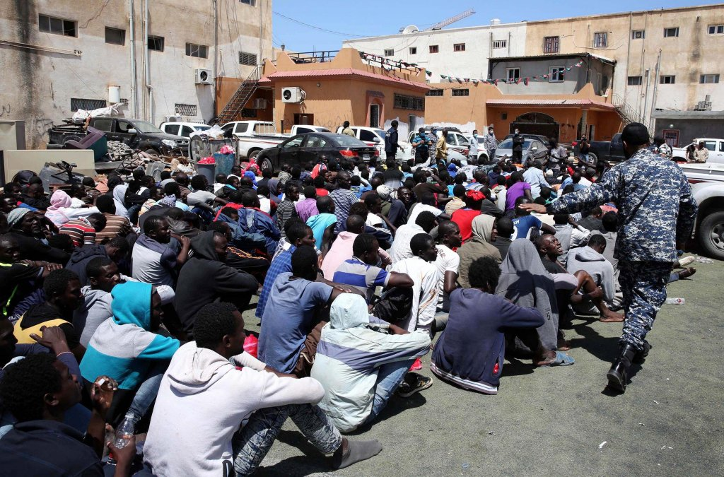 Libyan authorities in Tripoli detain hundreds of people suspected of trying to reach Europe illegally. Photo: EPA/STR