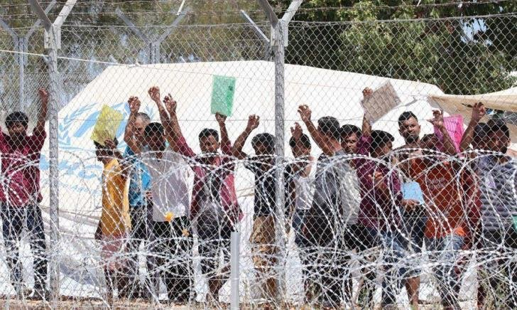 From file: Asylum seekers at the Pournara refugee camp which is regularly criticized for its appalling living conditions | Source: Twitter, Refugee Support Europe @RefugeeSupportE in a tweet dated September 18, 2020
