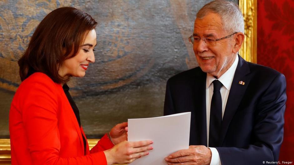 وزيرة العدل ألمى زاديتش والرئيس النمساوي ألكسندر فان دير بيلين
