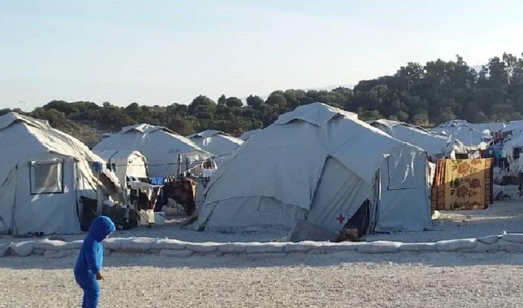 المخيم الجديد المؤقت على جزيرة ليسبوس. الصورة أرسلها لنا أحد المهاجرين في المخيم.
