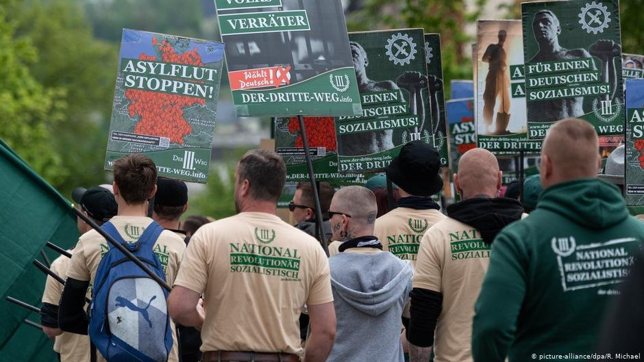 "Members of the ultra-nationalist party ""Der Dritte Weg"" march at a protest in Plauen, Germany on May 1, 2019 