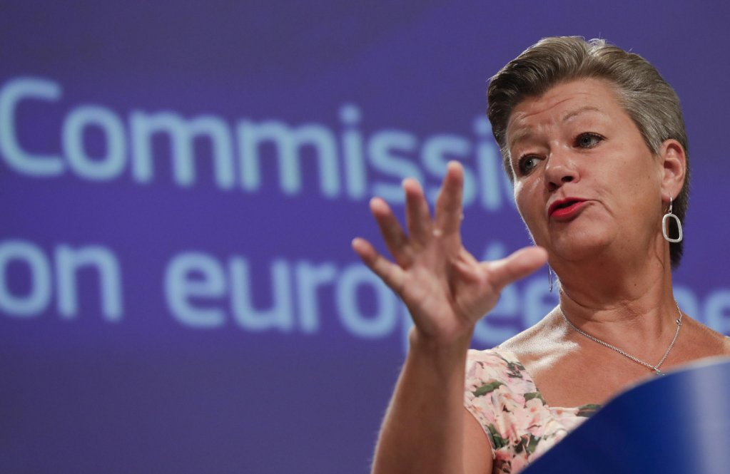 European Commissioner for Home Affairs Ylva Johansson at a press conference in Brussels, September 4, 2020 | Photo: EPA/OLIVIER HOSLET / POOL (ANSA)