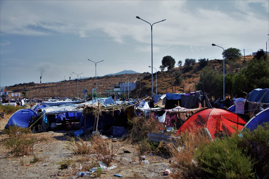 Migrants living at a makeshift camp on the Greek island of Lesbos   Photo: Violeta Dimitrakopoulou/Oxfam