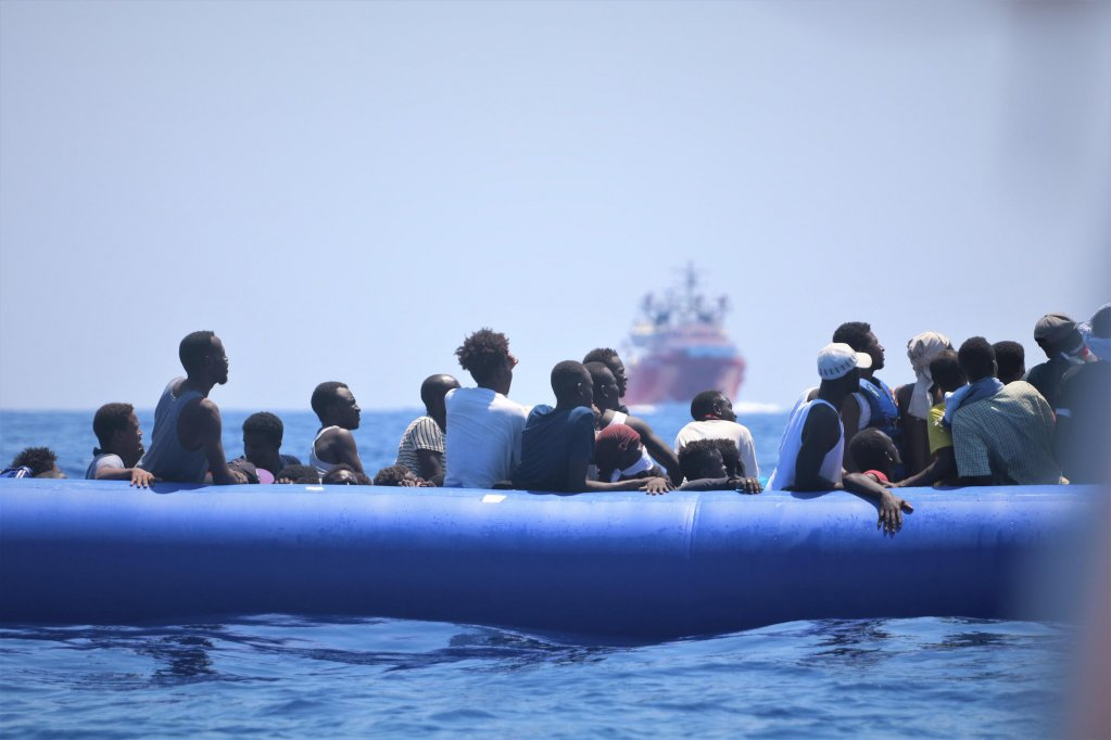 Migrants on a rubber dinghy in the Mediterranean | Photo: EPA/Hannah Wallace Bowman