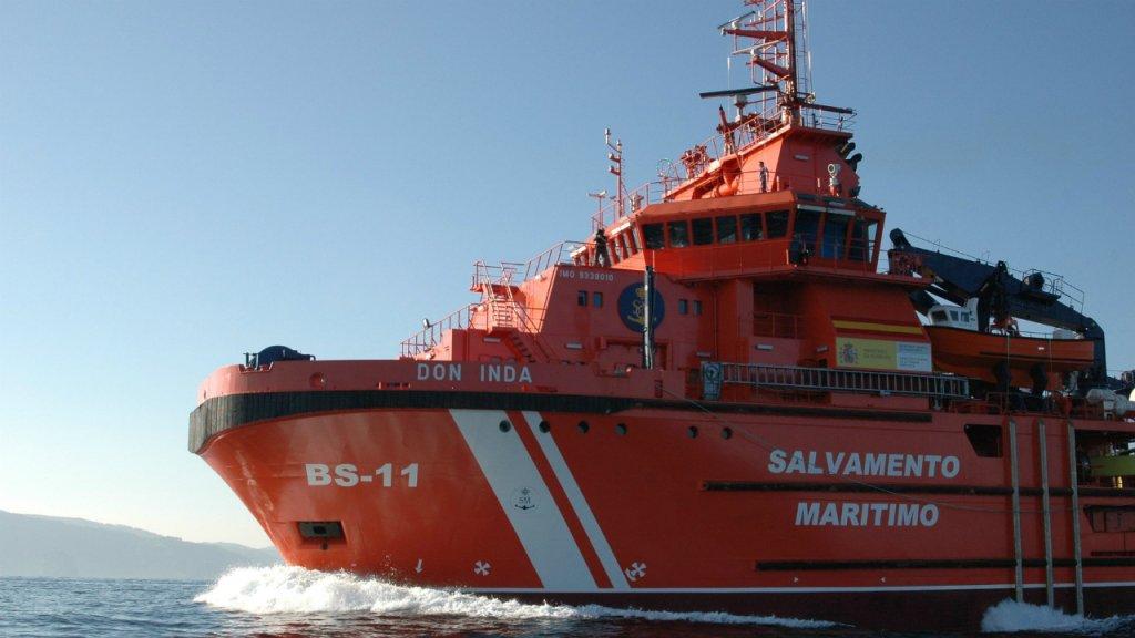 Un bateau de secours de Sasemar. Crédit : Twitter @salvamentogob