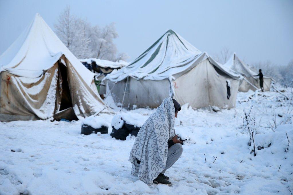 مخيم فوتشياك في البوسنة. المصدر: رويترز