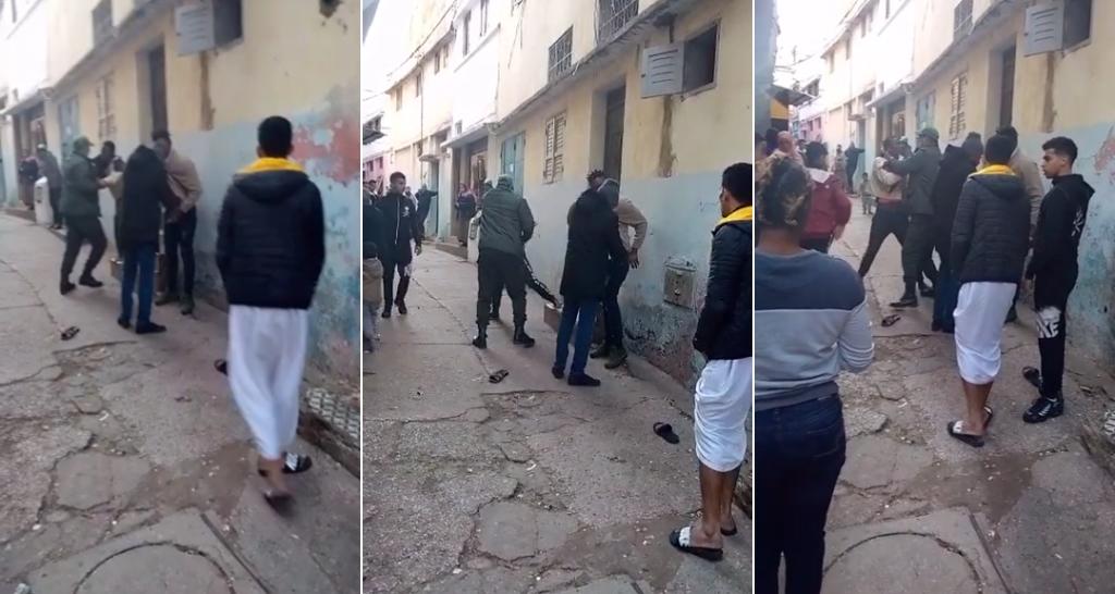 © يوتيوب |صور من مقطع فيديو لعملية توقيف مهاجرين في حي التقدم في الرباط بتاريخ 28 كانون الثاني/ يناير، حسب مراقبنا الذي أرسل لنا هذا الفيديو. فيديو من يوتيوب