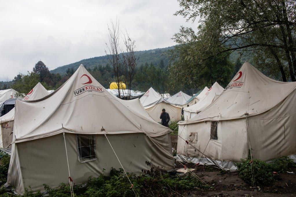 خیمههای مهاجران در کمپ ووچیاک. عکس از ژن فرانک