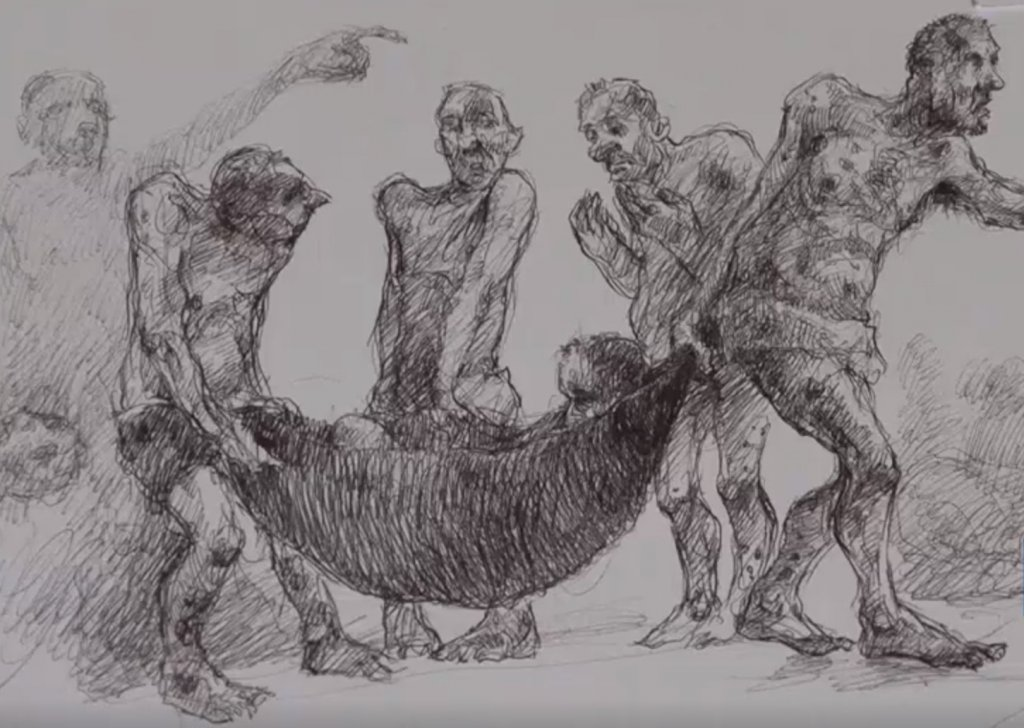 Najah Albukai a dessiné l'horreur des prisons syriennes. Crédit : InfoMigrants/France24