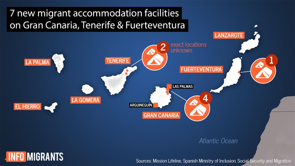 نقشه هفت جزیره قناری که تاسیسات پذیرش برای مهاجران در آن ها موجود است Credit: InfoMigrants