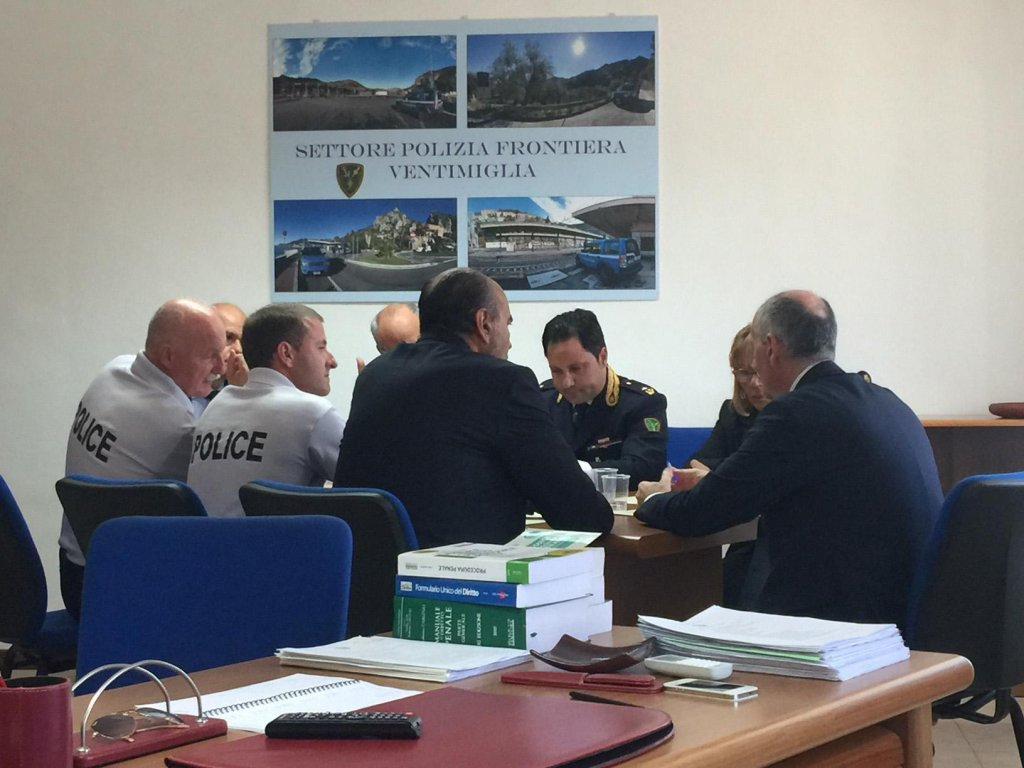 Meeting of police officials in Ventimiglia, at the border between Italy and France. Credit: ANSA/Polizia di stato (Italian Police)