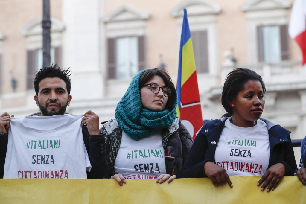 People at a demonstration in Rome, Italy, in November 2017, demanding that anyone born in Italy should be able to get the Italian citizenship | Photo: ANSA/Giuseppe Lami
