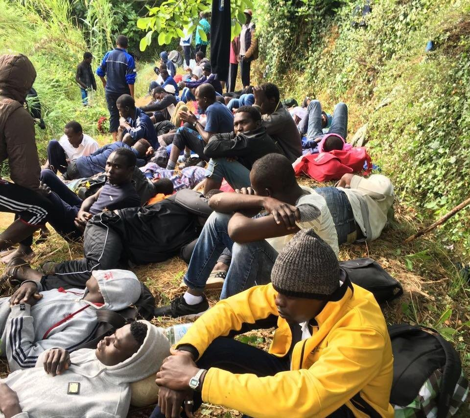 Migrants hiding in the woods between the municipalities of Ventimiglia and Olivetta San Michele at a step from the French border. Credit ANSA/ CHIARA CARENINI