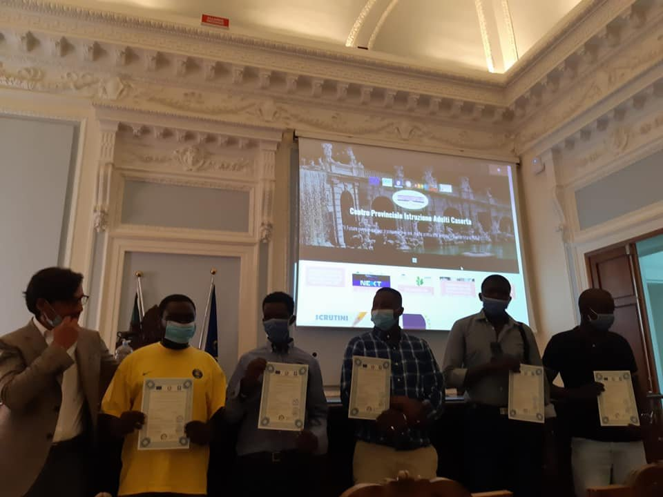 Migrants receive diplomas in mechatronics and Italian certificates during the convention at the Caserta Chamber of Commerce | Credit: Ex Canapificio social center