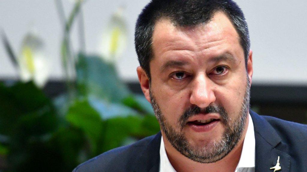 Alberto Pizzoli, AFP |Le ministre de l'Intèrieur italien, Matteo Salvini, durant une conférence de presse à Rome, le 7 janvier 2019.