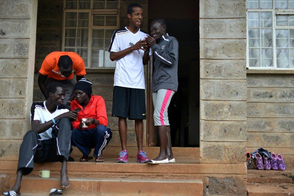 Des athlètes réfugiés dont Rose Nathike Lokonyen (d.) dans le camp d'entrainement de Ngong à côté de Nairobi en 2017. Crédit : RFI