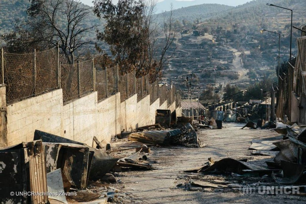 From file: The aftermath of the devastating fires at the Moria refugee camp in Lesbos in September 2020 | Photo: UNHCR/ACHILLEAS ZAVALLIS