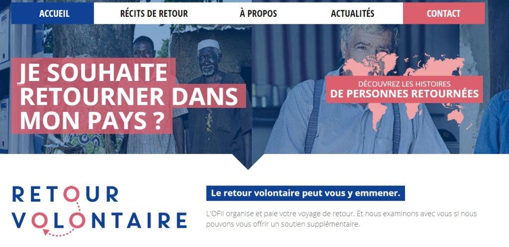 """Capture d'écran du site """"retourvolontaire.fr"""""""