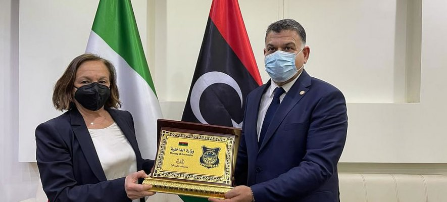Italian Interior Minister Luciana Lamorgese meets Libyan Interior Minister Khaled Tijani Mazen on April 19, 2021 | Source: Italian Interior Ministry