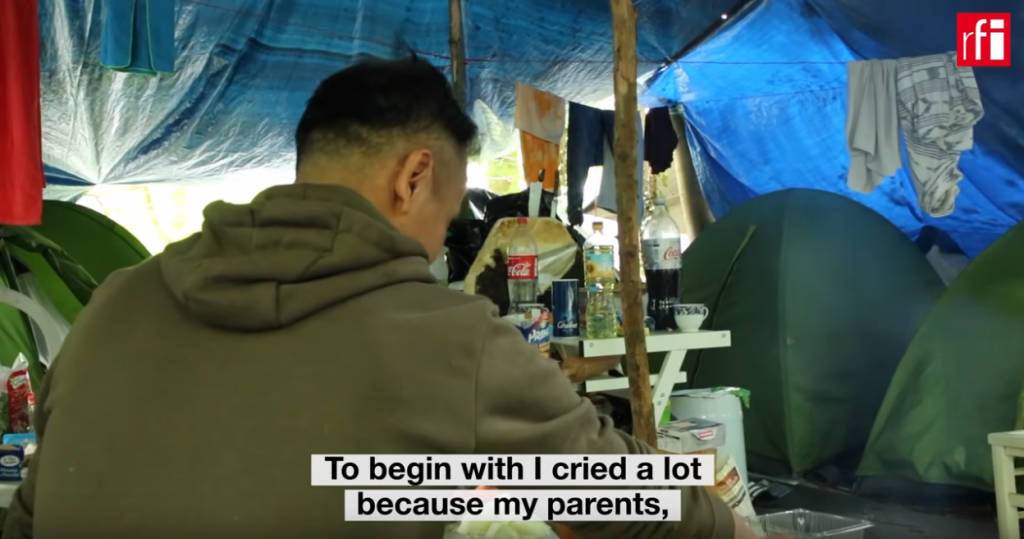 A screenshot of an RFI video report about Tibetan refugees in the French town of Conflans filmed in May 2019 | Credit: Screenshot RFI/Rosie Collyer