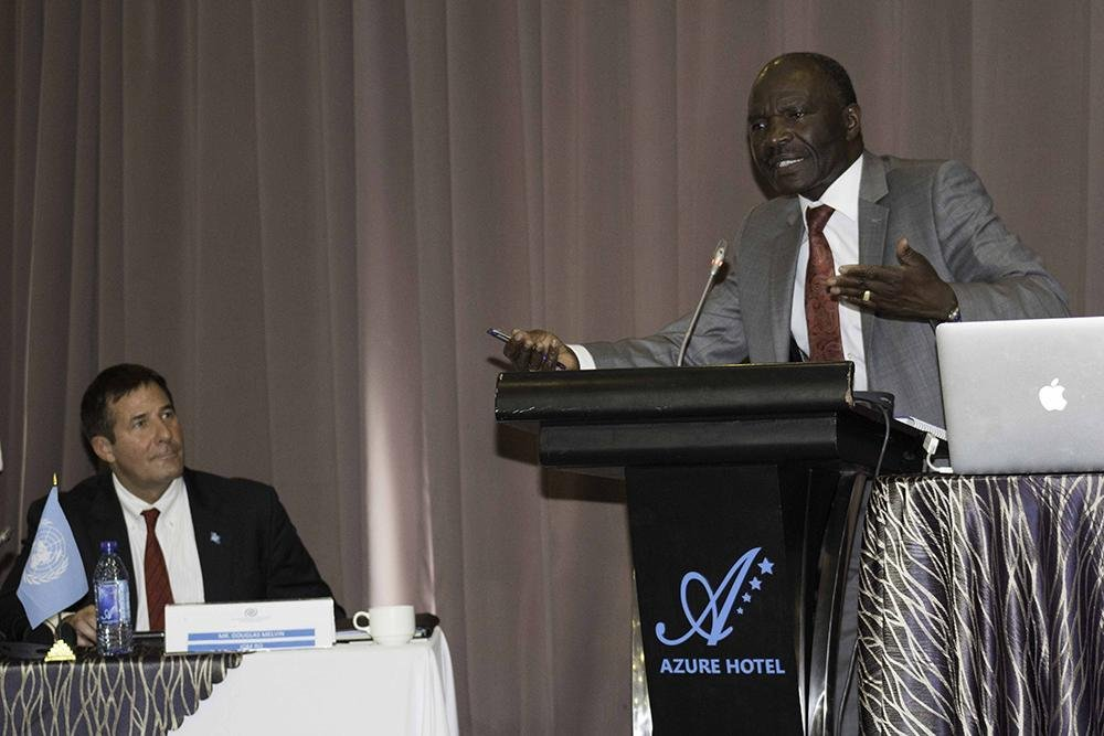 Kenya's principal secretary for immigration Gordon Kihalangwa making the keynote address. Credit: IOM
